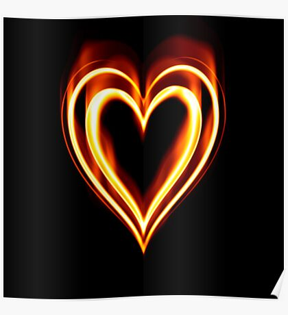 Flaming Heart on Fire Poster
