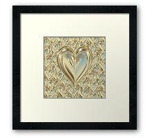 Golden Floating Hearts Framed Print