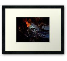 beginning spirits look on... red hot ash smoldering in a raging sea Framed Print