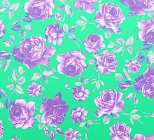 Vibrant Teal and Purple Hipster Rose Floral Print by Blkstrawberry