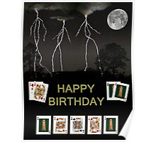 Happy Birthday Poker Cards Poster