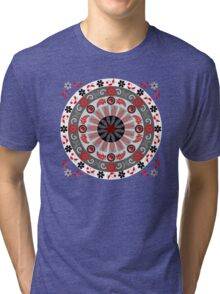 Flowers, leaves, butterflies and patterns mandala in red, B&W Tri-blend T-Shirt