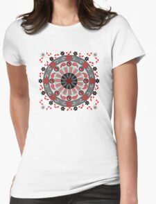 Flowers, leaves, butterflies and patterns mandala in red, B&W T-Shirt