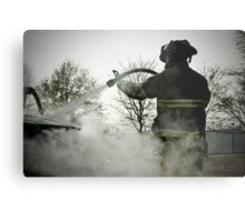 fireman extinguishing car fire Metal Print