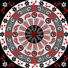 Flowers, leaves, butterflies and patterns mandala in red, B&W by walstraasart