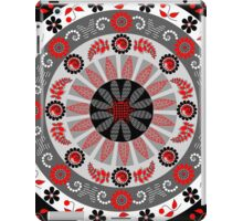 Flowers, leaves, butterflies and patterns mandala in red, B&W iPad Case/Skin