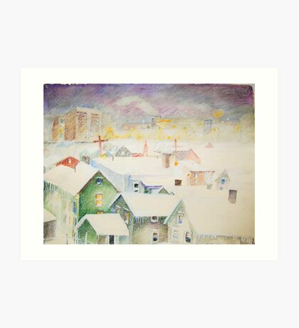 White Snowy Storm Green Street Syracuse New York Art Print