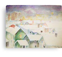 White Snowy Storm Green Street Syracuse New York Metal Print