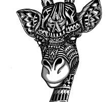 Giraffe aztec mayan ornate print tribal pattern by GinjaNinja1801