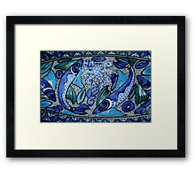 Deep Blue and Aqua Mediterranean Ceramic Fish and Octopus Painting Framed Print