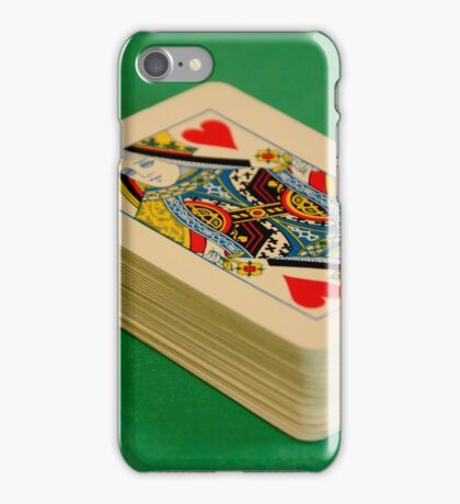 Queen of Hearts Pack of Playing Cards on Green Baize Poker Table iPhone Case/Skin