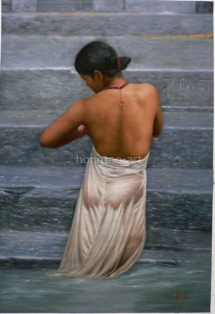 Original oil painting -bather by hongtao-art