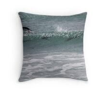 Gentoo penguins surfing Throw Pillow
