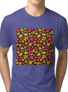 Autumn Leaves Pattern Dark Tri-blend T-Shirt