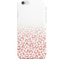 Coral Pink Faux Glitter Leopard Print Gradient iPhone Case/Skin