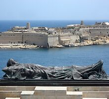 Fallen Soldier Memorial Statue Overlooking Grand Harbour Malta by HotHibiscus