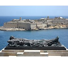Fallen Soldier Memorial Statue Overlooking Grand Harbour Malta Photographic Print