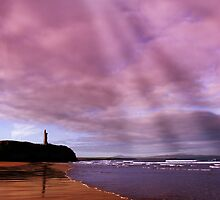 ballybunion beach castle and waves by morrbyte