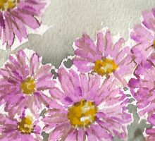 Purple Daisy Mums Watercolor by Natalie Cardon