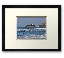 """"""" The high tide mark can be seen at the top of the rock"""" Framed Print"""