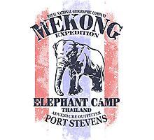 Mekong Expedition - Elephant Camp - Thailand Flag Photographic Print