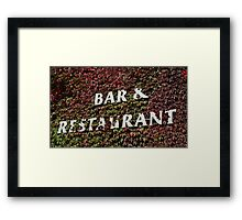 bar and restaurant sign Framed Print