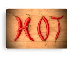 Cayenne Red Peppers Typographic Food Spelling HOT Canvas Print