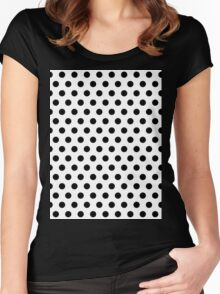 Polkadots Black and White Women's Fitted Scoop T-Shirt