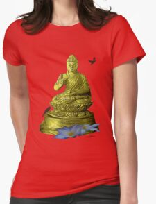 Clematis Buddha Womens Fitted T-Shirt