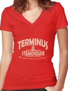 Terminus Steakhouse geek funny nerd Women's Fitted V-Neck T-Shirt