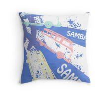 VW SAMBA SAMBA SAMBA VW Kombi Card - Blue Throw Pillow