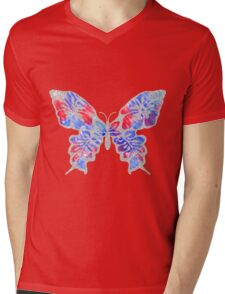 Red, White, and Blue Watercolor Butterfly Mens V-Neck T-Shirt
