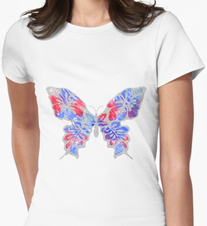 Red, White, and Blue Watercolor Butterfly Womens Fitted T-Shirt