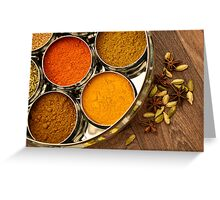 Bright Orange Yellow Asian Chef Silver Indian Spice Pots Greeting Card
