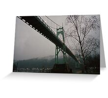 Foggy Evening, St. Johns Bridge Greeting Card