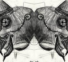 two headed cyborg undead sad Bird Brain Parrot machine drawing by Followthedon