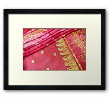 Traditional Pink Gold Asian Indian Sari Pattern Wedding Gown Framed Print