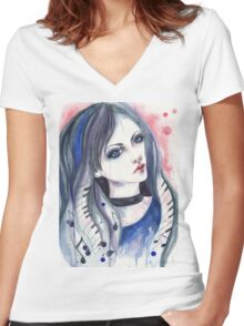 Music girl Women's Fitted V-Neck T-Shirt
