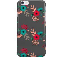 folk flowers pattern - dark background iPhone Case/Skin