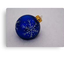 Blue Ornament on Snow Canvas Print