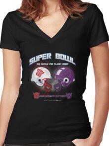 Intergallactic Super Bowl Women's Fitted V-Neck T-Shirt