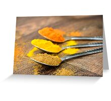 Warm Orange and Yellow Indian Cooking Spices on Silver Spoons Greeting Card