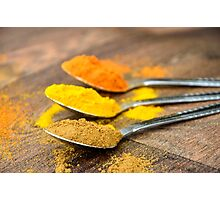 Warm Orange and Yellow Indian Cooking Spices on Silver Spoons Photographic Print