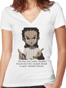 Cheddar Bisquits Women's Fitted V-Neck T-Shirt