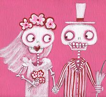 Pink Skelly Bride and Groom by Pink-Ivy