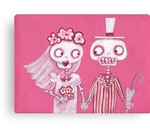Pink Skelly Bride and Groom Canvas Print