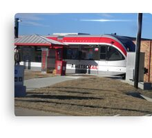 Austin's New Metrorail - Red Blur, Silver Streak Canvas Print