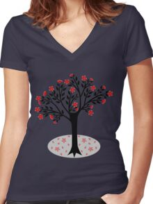Blossom tree Women's Fitted V-Neck T-Shirt