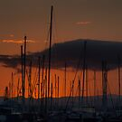 Masts, sunset and tangerine skies by orkology