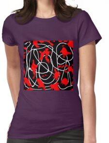 Red, Black & White  Womens Fitted T-Shirt